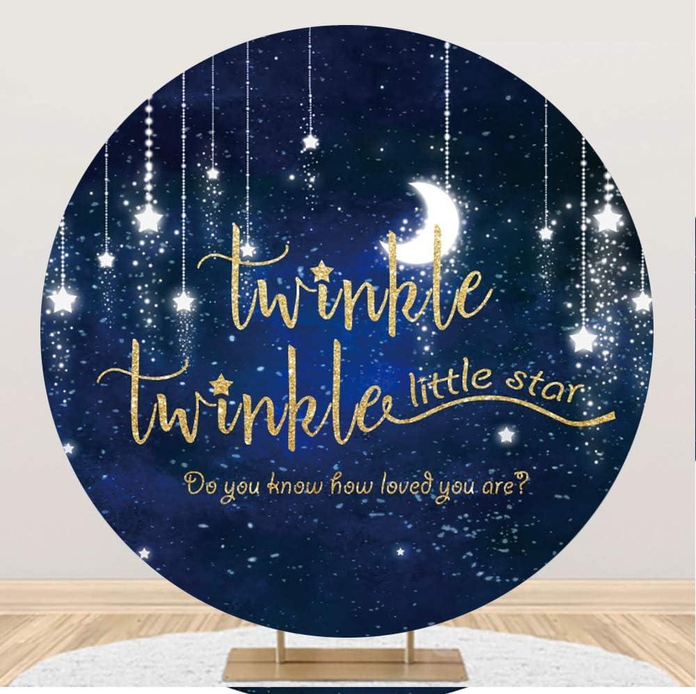 Leowefowa Twinkle Free shipping New Little Star Birthday Backdrop Round service 6.5x6.5ft