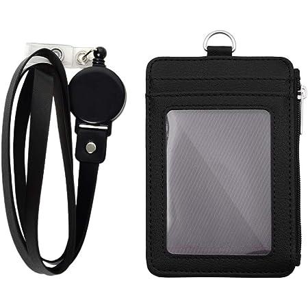 Porte-Badge avec fermeture à glissière porte-carte d'identité, amovible Cuir PU Porte-Carte D'identité Badge avec 5 emplacements pour cartes