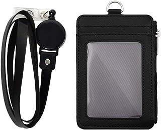 Porte-Badge avec fermeture à glissière porte-carte d'identité, amovible Cuir PU Porte-Carte D'identité Badge avec 5 emplac...