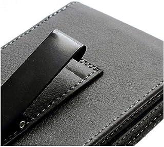 DFV mobile - Leather Flip Belt Clip Metal Case Holster Vertical for HTC Desire 19s (2019) - Black
