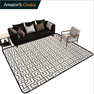 TableCoversHome Modern Abstract Area Rug for Bedroom, Mysterious Vintage Maze Modern Shape in Squares Lines Work of Art Print Fashionable High Class Living Dinning Room, (5'x 8') Sage Green and White