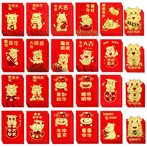 Supla 118 Pcs Chinese Red Envelopes Hong Bao Chinese Lucky Money Envelopes Red Packet Lucky Cash Envelopes Red Pockets Lai See for Chinese Lunar New Year 2021 Year of The Ox Wedding Birthday