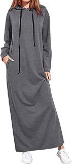 Womens Loose Hoodies Sweatshirts Long Sleeve Pocket Sweater Maxi Dress KIKOY