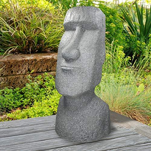 ECD Germany Osterinsel Moai Rapa Nui Kopf Deko Figur Haus und Garten Indoor/Outdoor 78cm Steinguss Kunstharz Grau Lava Optik Skulptur Gartenfigur Gartenskulpturen Steinstatue Statue Dekorationselement