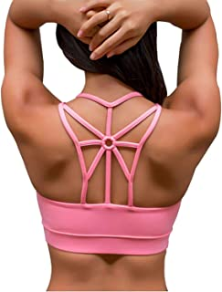 featured product DeepTwist Womens Strappy Back Yoga Dance Padded Bralette Medium Impact Sports Bra