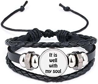 It is Well with My Soul Christian Quotes Bracelet Braided Leather Rope Bead Wristband