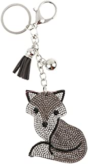 NATFUR New Crystal Metal Animal Pendant Keychain Car Bag Key Ring Chain Keyfob Elegant Novelty for Women Cute for Men Holder Perfect for Gift Great   Color - Gray