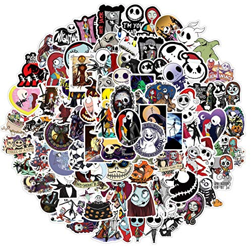Christmas Cartoon Movie Stickers 100pcs, Cool Waterproof Sticker for Teen Skateboard, Laptop, Water Bottle, Snowboard, Bicycle, Luggage, Travel Case(The Nightmare Before Christmas)