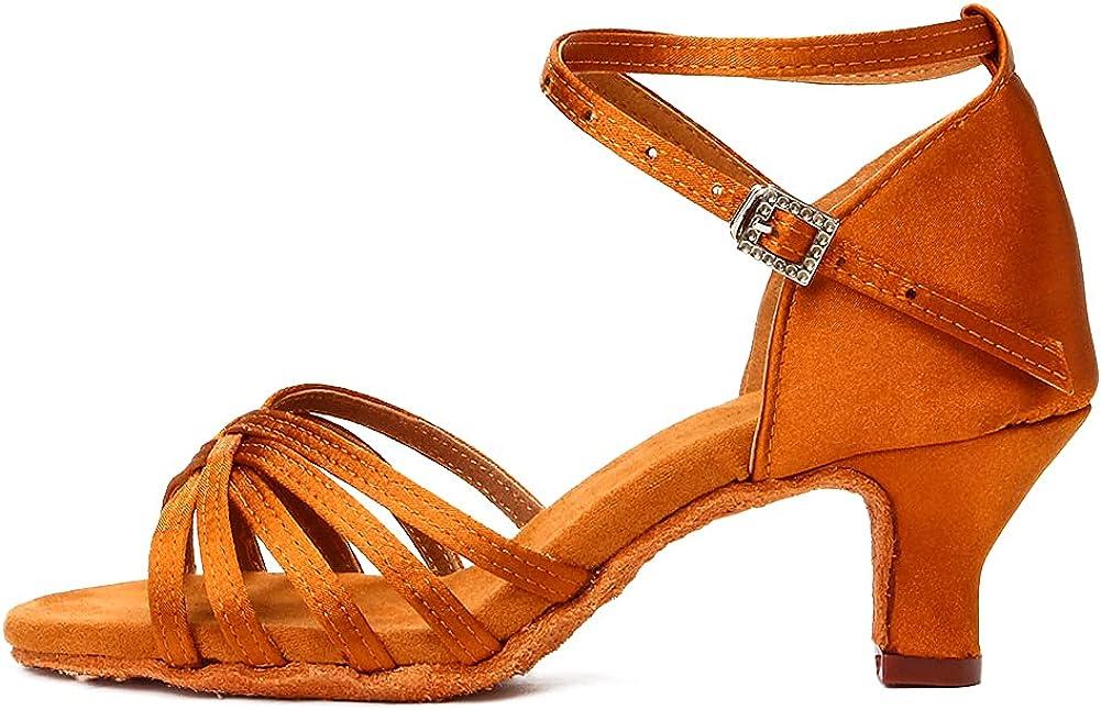 DKZSYIM Women's Satin Latin Dance Shoes Ballroom Salsa Performance Dancing Shoes, Model 213