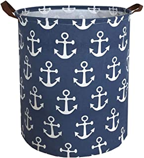 Sanjiaofen Canvas Fabric Storage Bins,Collapsible Laundry Baskets,Waterproof Storage Baskets with Leather Handle,Home Deco...