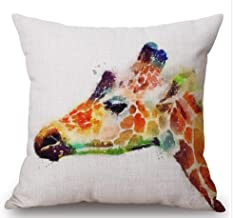 Bnitoam Watercolor Animal Horse Lion Tiger owl Giraffe Bear Cotton Linen Square Decorative Throw Pillow Case Cushion Cover 18inchs ¡­ (5)