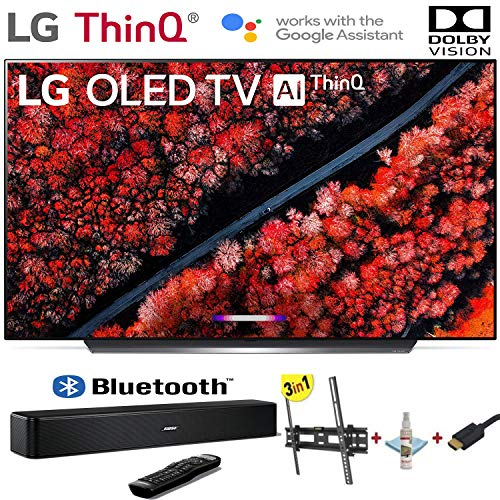 LG Electronics OLED65C9PUA C9 Series 65' 4K Ultra HD Smart OLED TV (2019) w/Bose Solo 5 TV Sound System w/3 in 1 Wall Mount kit- Wall Mount, HDMI Cable, TV Cleaning Kit - LG Authorized Dealer