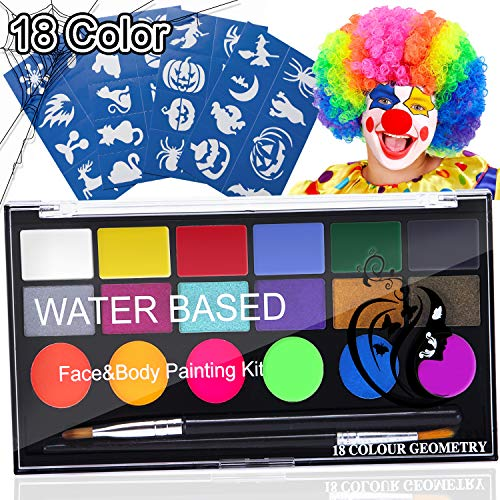 18 Color Face Painting Kits for Kids Non Toxic Halloween Face Paint Palette on Christmas Halloween Facepaint Makeup Costume Birthday Party - Non-Grease