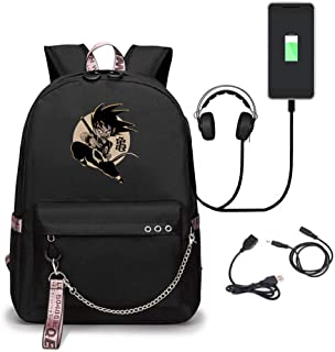 Dragon Ball Z Student School Bag Laptop Backpack with USB Charging Port