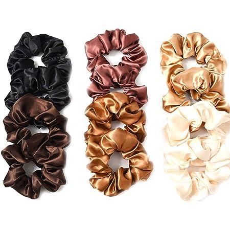 Lurrose 12pcs raso capelli scrunchies capelli elastici legami di colore solido corda per capelli ponytail titolari per le donne ragazze