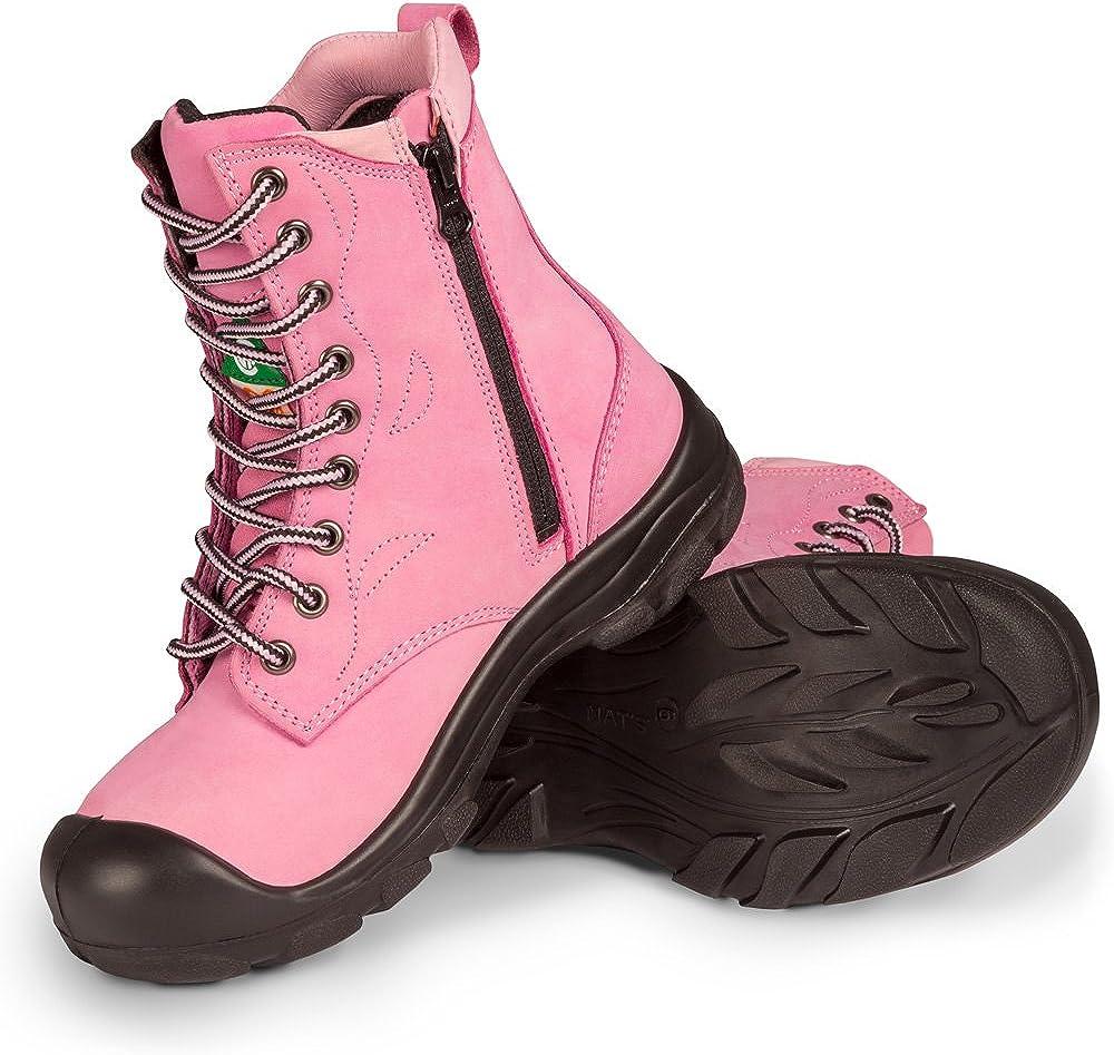 P&F Workwear Women's Steel Toe Work Boots   Pink  8