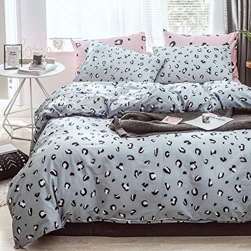 BlueBlue Leopard Duvet Cover Set Twin 100% Cotton Bedding for Kids Boys Girls Teens Cartoon Black White Cheetah Print on Blue 1 Safari Comforter Cover with Zipper Ties 2 Pillowcases, Twin
