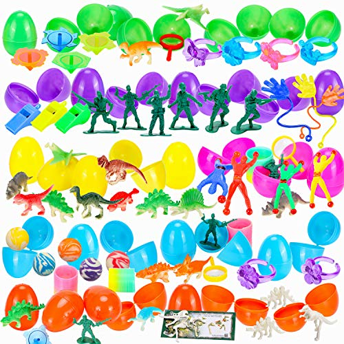 Sizonjoy 100 Pack Filled Easter Eggs with Toys,Bright Colorful Prefilled Plastic Surprise Eggs-Perfect for Kids Easter Egg Hunt Party Favors