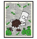 Graffiti Wall Art of Louis Vuitton - Bart Simpson Poster - Banksy Wall Art Set - LV Wall Decor - Money Decorations Wall Decor - Urban Wall Decor - Funny Street Art Mural for Alec Monopoly Fans