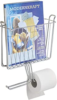 mDesign Modern Metal Bathroom Wall Mount Magazine Holder with Toilet Tissue Paper Dispenser - Holds Magazines, Books, Newspapers and Tablets - Holds 2 Extra Paper Rolls - Chrome