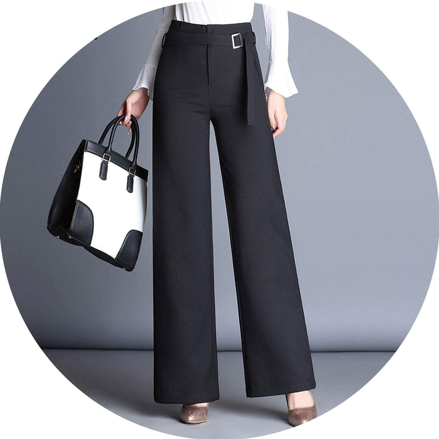 Office Lady Suit Pants Female High Waist Loose Black Wide Leg Pants Straight Sashes Trousers