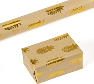 RUSPEPA Kraft Wrapping Paper Roll- Foil Gold Star Shiny Pineapple Wrapping Paper for Wedding, Birthday, Shower, Congrats 1 Roll - 30 Inch X 16 Feet
