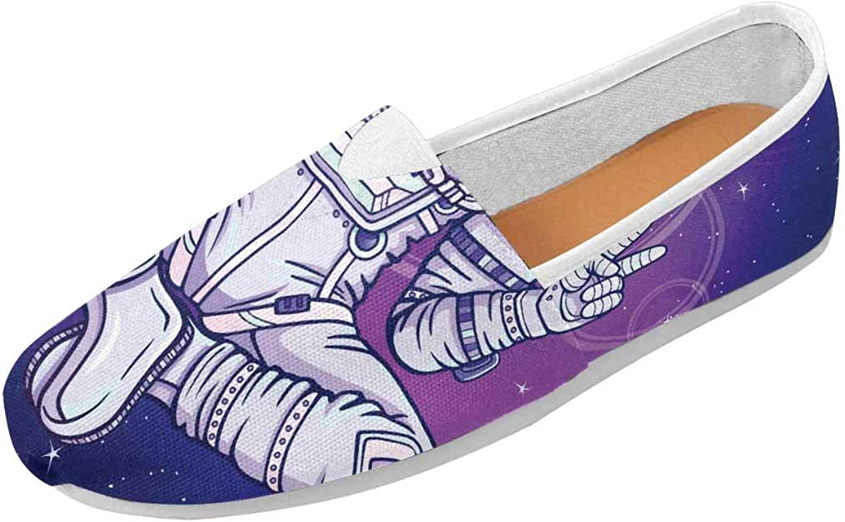 InterestPrint The Astronaut Sitting Meditation in Space Women's Comfort Slip-on Loafers