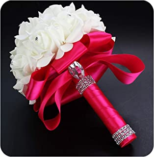 Encounter_meet Beautiful White Ivory Bridal Bridesmaid Flower Wedding Bouquet Artificial Flower Rose Bouquet Crystal Bridal Bouquets,Hot Pink
