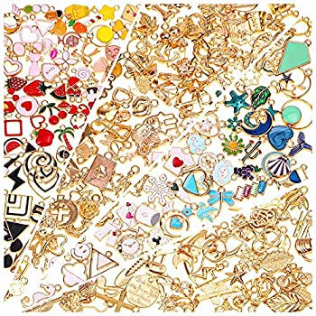 200Pcs Charms for Jewelry Making Gikasa Assorted Jewelry Bangle Charms Wholesale Mixed Bulk Metal Earring Charms for DIY Necklace Bracelet Jewelry Making and Crafting