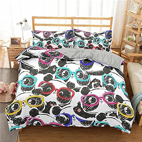 QDoodePoyer 3 Piezas de Funda de edredón Plisada de Microfibra Suave de tamaño con Cierre de Cremallera y 2 Fundas de Almohada de Microfibra Suave 260x220cm Color Gafas Animal Panda
