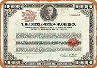 8 x 12 cm メタル サイン - 1977 年 100 万ドルの財務省短期証券 メタルプレートブリキ 看板 2枚セットアンティークレトロ