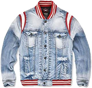 021080e00b044b Jordan Craig Varsity Denim Jacket Ice Blue