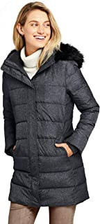 Lands` End Women`s Winter Long Down Coat with Faux Fur Hood