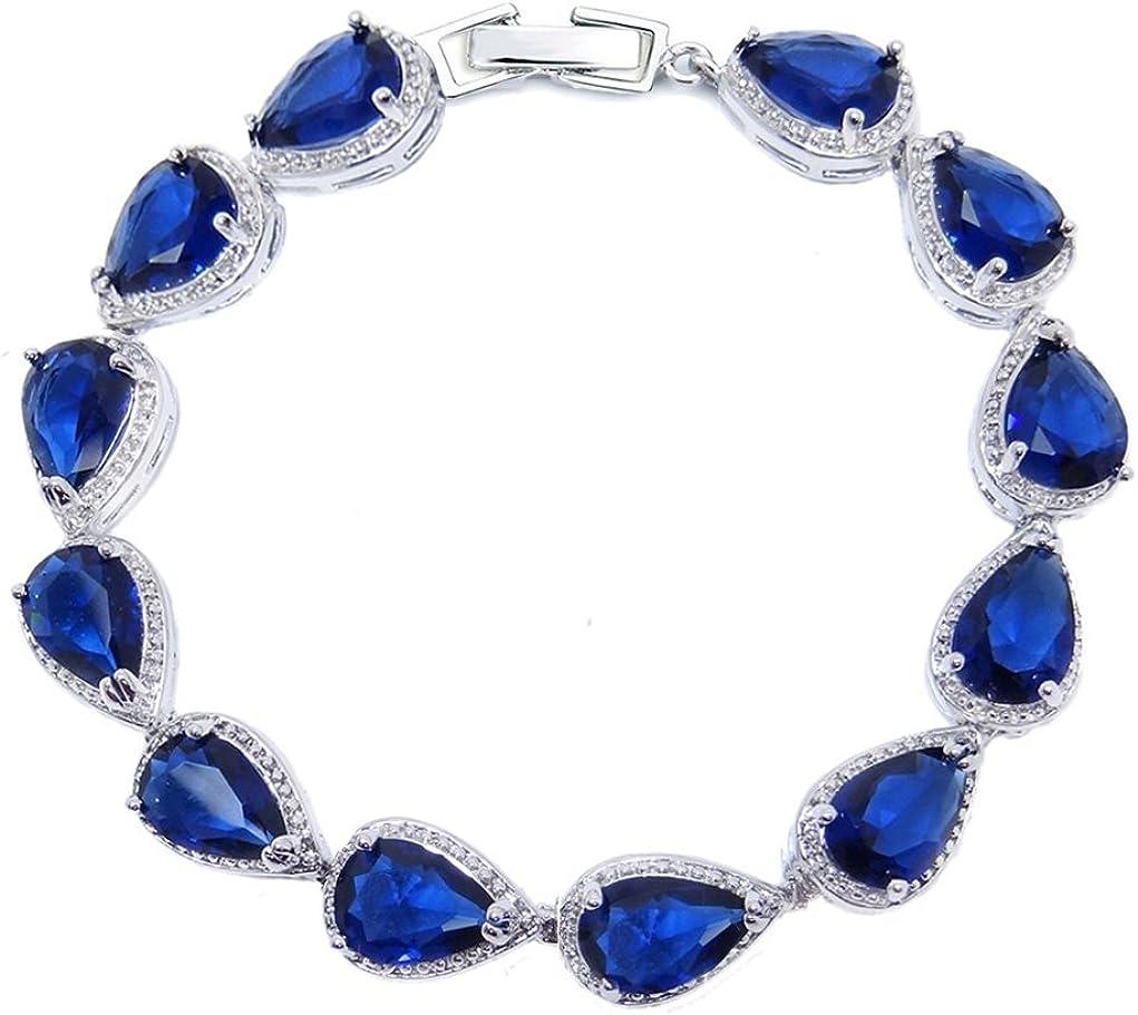 SELOVO Max 52% OFF Wedding Bridal Teardrop Bracelet Cubic Bargain Zirconi Chain Link