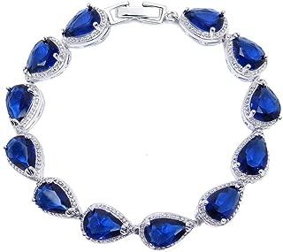 Wedding Bridal Teardrop Bracelet Chain Link Cubic Zirconia Silver Tone