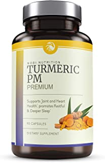 Nobi Nutrition Turmeric Curcumin Sleep Aid with Melatonin - Natural Sleeping Pills for Insomnia - Advanced Absorption, Joints Support and Anti-Aging Supplement - 90 Vegan Capsules