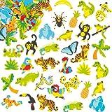 Baker Ross- Pegatinas de Espuma con Diseños de la Selva (Pack de 100) para Decorar Tarjetas, Cuadernos, Manualidades y Collages Infantiles