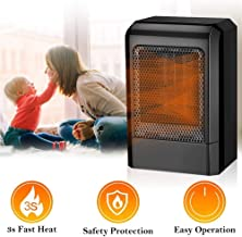Calefactor bajo Consumo,Mini Heater Estufa Eléctrica Portatil 500W con Termostato, Instant Heater con Ajustable