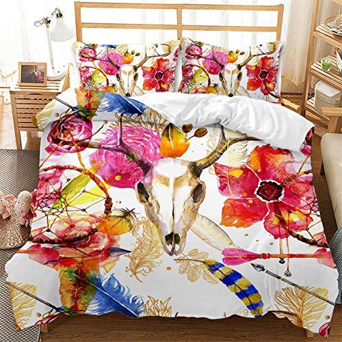 ARTGHJL Juego de ropa de cama con diseño de atrapasueños, funda de edredón de 3 piezas, con bonito significado, con cremallera (220 x 240 cm)