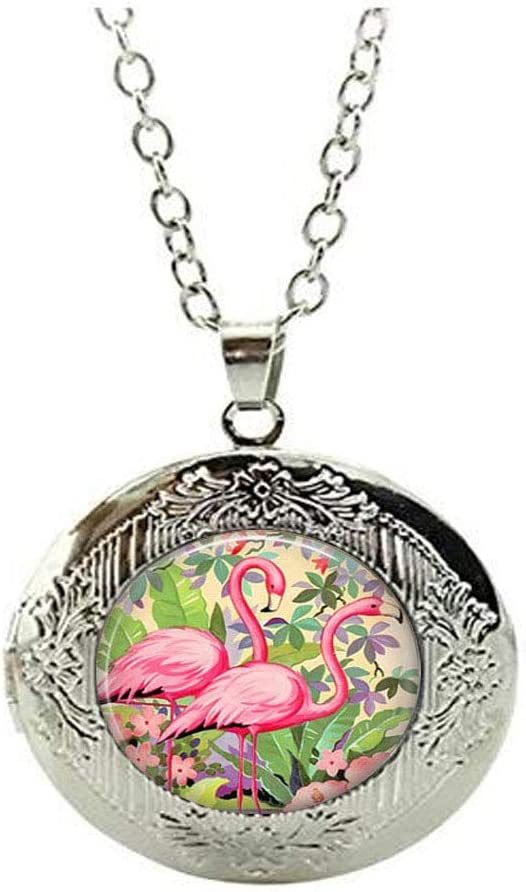 Pink Flamingoes Locket Manufacturer regenerated product Necklace Flamingo Jewelry Bird Mesa Mall Gift Love