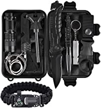 Survival Tool Outdoor Survival Kit 11 in 1, Emergency Survival Gear Tool with Knife, Compass, Blanket, fire Starter, Flashlight, Whistle, Tactical Pen etc for Outdoor SOS Self Help Kit Camping, Hiking