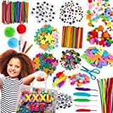 Blue Squid Arts & Craft Supplies for Kids – 1500+ Pcs Easy Store Bag of Assorted Kids Craft Art Supply, Home School Supplies Craft Set, DIY Crafting Kit, Crafting School, Toddlers Age 4 5 6 7 8 9