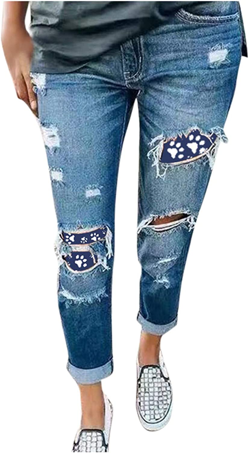 Casual Ripped Jeans for Women Cat Paw Print Blue Denim Jeans Trendy Plus Size Trousers for Youth