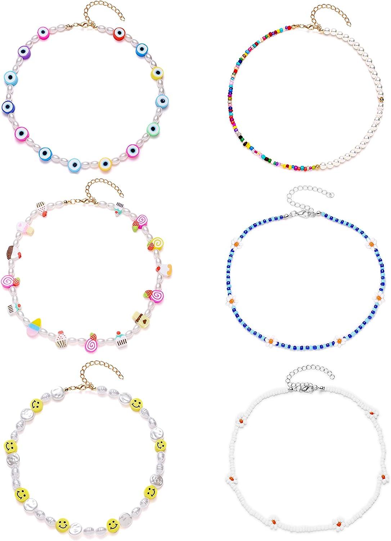 Ofeiyaa 6Pcs Heishi Choker Necklace Smiley Face Pearl Seed Bead Y2K Evil Eye Irregular Handmade Colorful Boho Cute Necklace Set Chain Jewelry For Women Girls Teen Adjustable