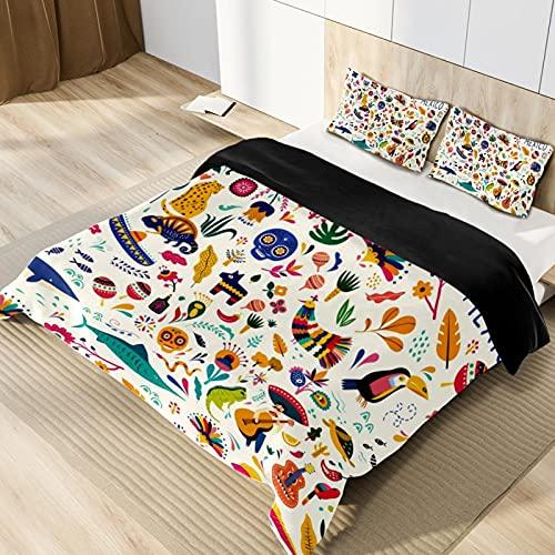 Juego de funda de edredón de microfibra suave y ligera, diseño de símbolos tradicionales de México, tamaño individual, juego de ropa de cama para adolescentes, niños y niñas