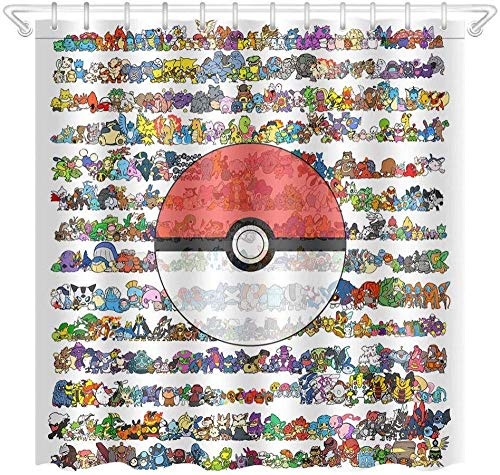 kglkb Duschvorhang,Pokemon Wasserdichtem Polyestergewebe Duschvorhang, Teppich 12 Haken 180X180 cm
