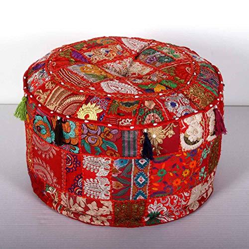 Casa Moro Orientalischer Patchwork Pouf Desna Groß Rot Ø 55cm Höhe 30cm mit Füllung aus Baumwolle | Polsterhocker rund Vintage Sitzkissen im Boho Stil für einfach schöner Wohnen | MA1112