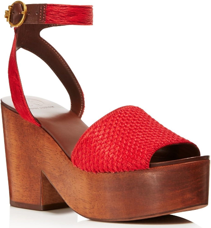 Tory Burch Womens Camilla Calf Hair Peep Toe Platform Sandals