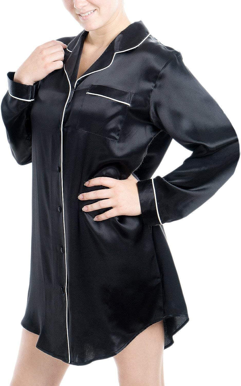 OSCAR ROSSA Women's Luxury Silk Sleepwear 100% Silk Long Sleeve Sleepshirt