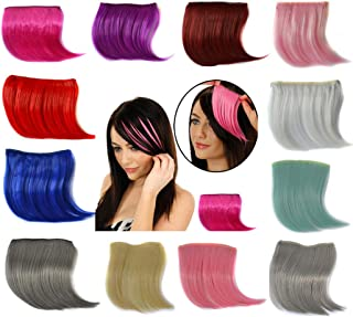 Hillento Womens Hair Piece Wigs, One Piece Clip in Front Hair Bang Fringe Hair Extension Piece Thin, Multicolor, 13PCS